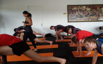 AFL's 'Embracing India' team try yoga to up wellbeing quotient